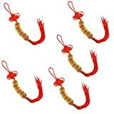 EORTA 5 Pieces Chinese Knot Tassel Red Charm Talisman with Ancient Feng Shui