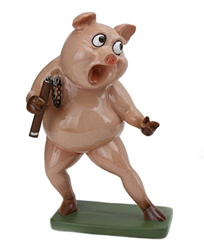 Novelty Fighting Pig Statue ~ Kung Fu Martial Artist Like Bruce Lee For Home Bathroom Decor (G16620) ~ We Pay Your Sales Tax