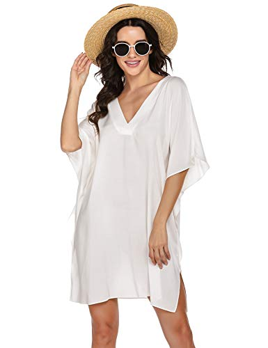 Ekouaer Swimsuit Beach Cover Ups Bikini Beachwear T-Shirt Bikini Dress Plus Size Bathing Sui Swimwear Dress,White
