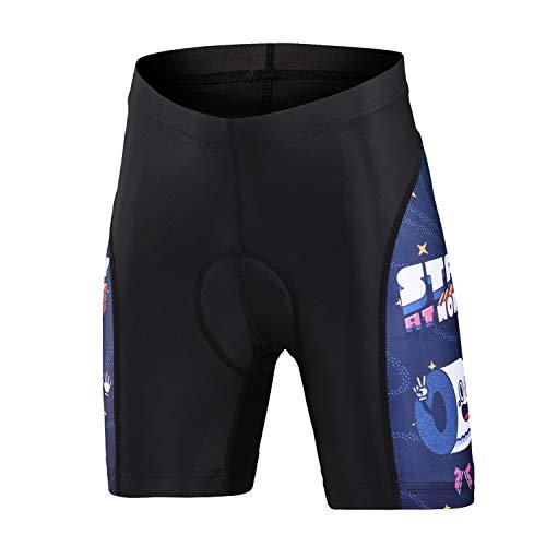 L PATTERN Pantalones de Ciclismo para Niños Niñas Pantalones de Bicicleta Cortos con 3D Gel Acolchado para Deportes al Aire Libre,Rollo de Papel de Dibujos Animados (Pantalones Cortos),10-11 años