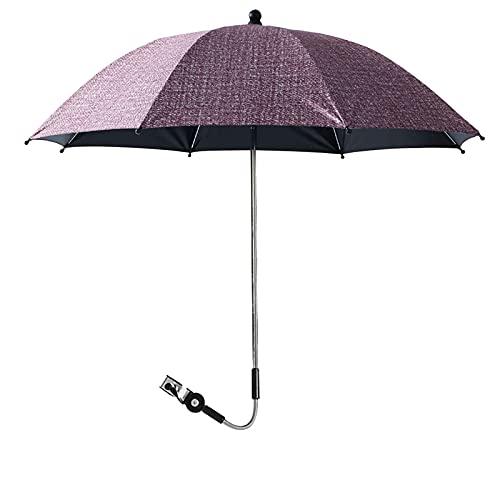 JuneJour Sombrilla Universal Carrito de Bebé Protección UV 50+ Rotación 360 ° Protección Solar Parasol para Cochecitos y Sillas de Paseo Paraguas(Rojo,Diámetro85cm Altura83cm)