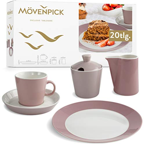 Mövenpick Geschirrset 6 Personen – Kaffee Set aus Porzellan Weiß Rose – Spülmaschinen- und Mikrowellengeeignet – 20tlg Teller Set