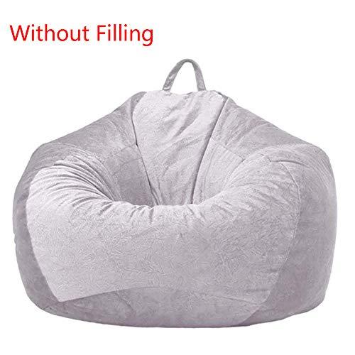 YFYTYG-PX Funda De Puf, Puf Gigante Funda De Puff Material De Pelo Corto Suave Funda De Puff Grande Sofá para Exterior E Interior Sin Relleno,Light Gray,M: 75x95cm