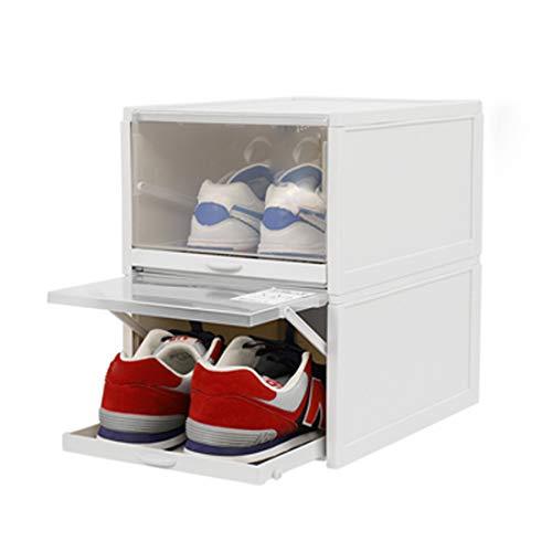 Baffect Organizador de Cajas de Almacenamiento de Zapatos apilables, 2 Paquetes de Cajas de Zapatos de plástico Transparente Cajas de Zapatos extraíbles Almacenamiento Frontal (L)