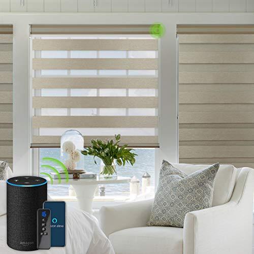 Yoolax Elektrische Doppelrollos mit Alexa kompatibel Sprachsteuerung mit Motor Fernbedienung Nach Maß Zebra Duo Rolladen(Braun) B:56-62, H:100-150