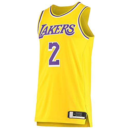 DENGPAO Balón de manga corta Lonzo Sportswear Los Angeles Top sin mangas Lakers Gold -#2 Player Jersey Icon Edition-M