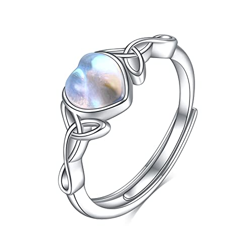 WINNICACA Rings for Women Heart Moonstone Celtic Ring Sterling Silver Irish Celtic Knot Jewelry Gifts Rainbow Open Adjustable Ring for Women Teens