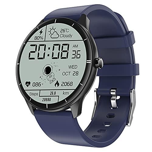 ERGEFSD para Hombre Mujer Smart Watch,1.28in Pantalla Táctil Reloj Inteligente con Oxígeno En Sangre Presión Sanguínea Ritmo Cardiaco Monitor Fitness Tracker,Smartwatch para iOS Android-Azul