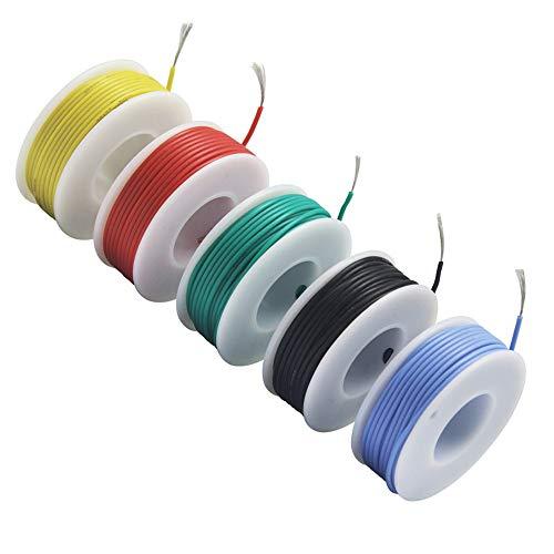 NorthPada 28 AWG 0,08mm² Fili Elettrici Fili per kit Filo Elettrico Fili in Silicone Cavo Filo in Rame Stagnato 5 Colori 200V 0,8A -60°C - +200°C 5 x 13metro