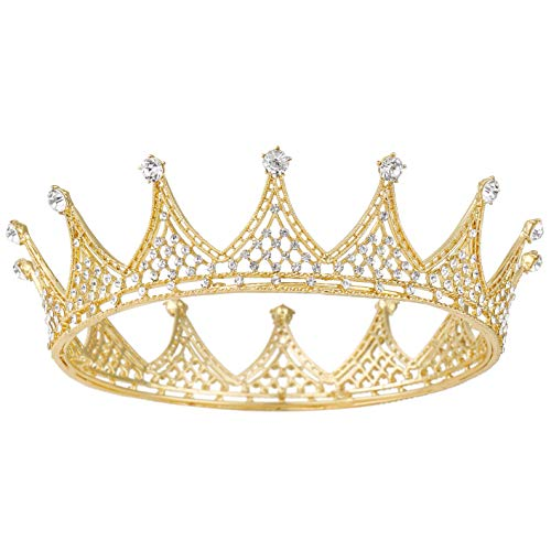 Coucoland Tiara de boda para novia, princesa, corona de cristal, vintage, corona...