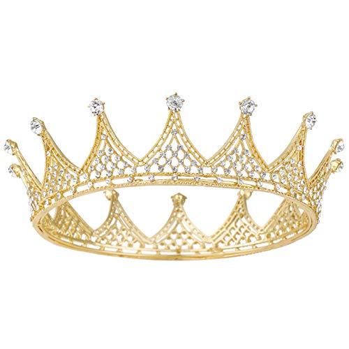Coucoland Diadème de Mariée en Cristal de Princesse Vintage Couronne de Reine Couronne d'anniversaire pour Femme Costume de Carnaval Accessoires pour Cheveux (Style-3-Or)