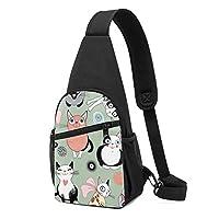 素敵な漫画の猫 ワンショルダーバッグ クロスボディバックパック ボディバッグ 斜めがけ バッグ おしゃれ 男女兼用 軽量 大容量