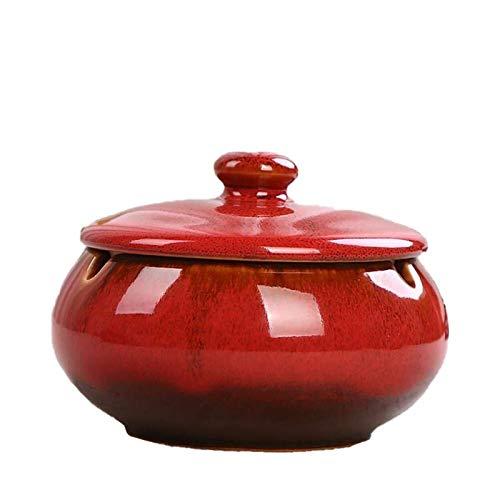DANYIN Cerámica Cenicero Cenicero Retro con Tapa Ash Titular Cerámica Cenicero Cenicero a Prueba de Viento for la Barra casera Oficina del Horno Cambio 11 * 8cm (Color : Red)