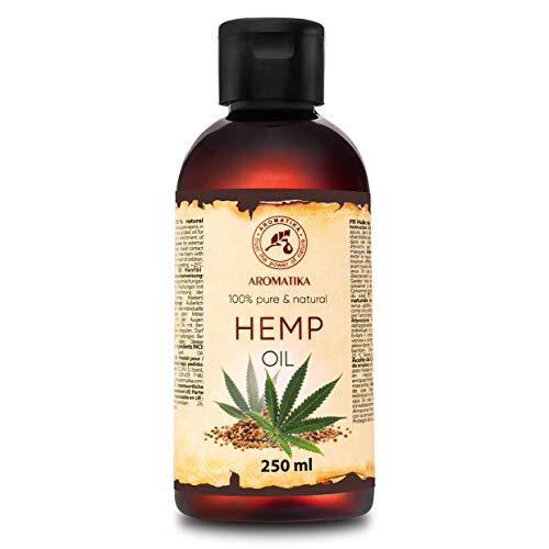 Huile de Chanvre 250ml - Huile de Graines de Cannabis Sativa - 100% Pur & Naturelle pour Soins de Peau - Soins Capillaires - Massage - Cosmétique - Bouteille en Aluminium - Huiles Chanvre
