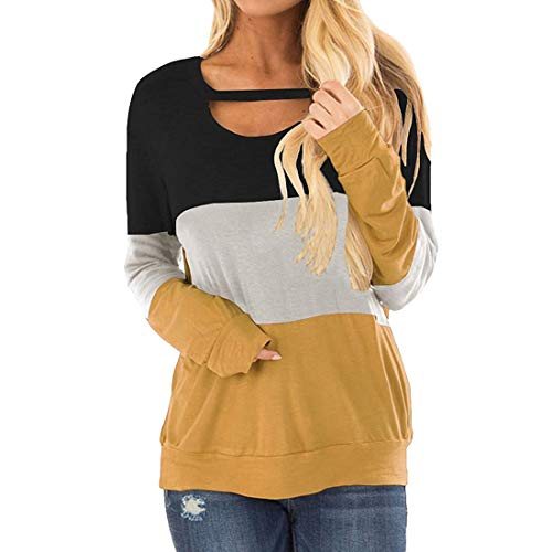Mujeres Casual Patchwork Blusa Camiseta Tops Mujer Color Block Encaje Triple Hoodies Jerseys de Rayas Manga Larga Colorblock Camisa de Manga Larga Sudadera Mujeres Cuello Redondo Rayas Jerseys Tops