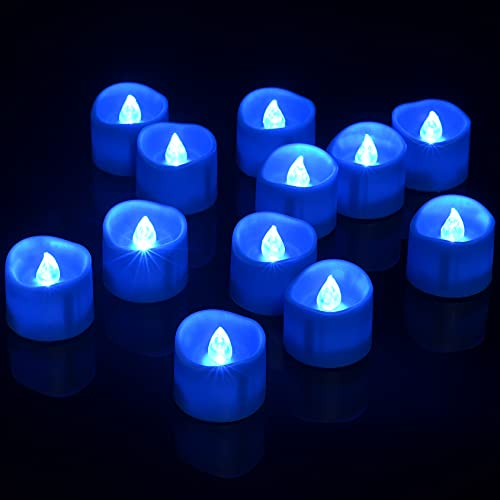 LED Tea Lights with Timer, PChero 12pcs Battery Included Candles Flameless Flickering Tealight for Birthday Wedding Party Date Home Decor – Blue
