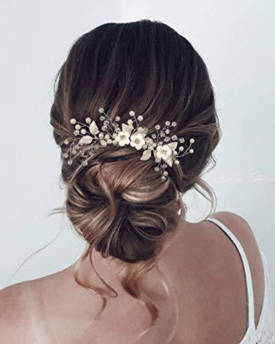 Unicra Braut Hochzeit Haarkamm Perlen Haarschmuck Blume Braut Kopfschmuck für Frauen und Mädchen