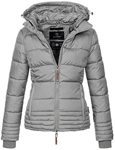 Marikoo Designer Damen Winter Jacke Steppjacke Winterjacke Stepp gesteppt B668 [B668-Sol-Grau-Gr.L]