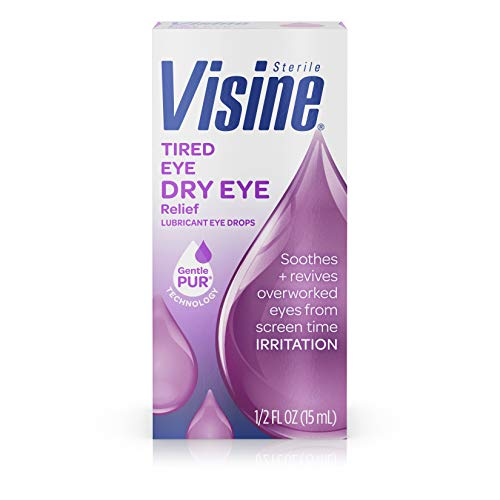 Visine Tired Eye Dry Eye Relief Eye Drops, Moisturizing & Soothing Drops for Irritated Eyes Due to Screen & Computer Use, 0.5 fl. oz