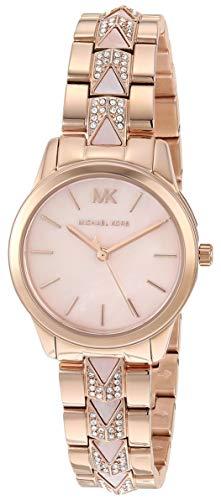 Michael Kors Women's Runway Mercer Quartz Watch with Stainless Steel Strap, Pink, 14 (Model: MK6856)