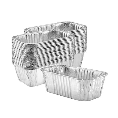 Thick Aluminum Loaf Pans (50 Pack)   1 Lb. Mini Baking Pans for Bread, Lasagna, Meatloaf, Cake   Heavy Duty Disposable Oven Bake Tin for Cooking & Food Storage
