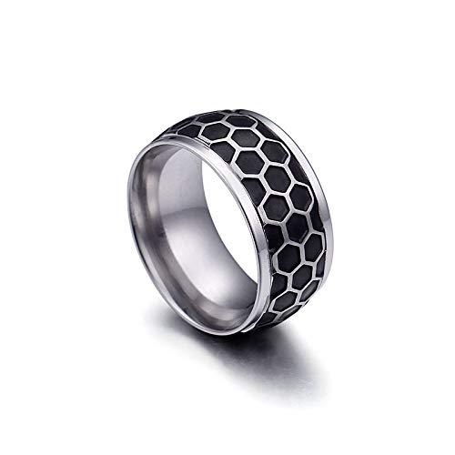 AMY-XCQ Ring, Large Titanium Steel Jewelry Men's And Women's Birthday Party Gift Retro,B,7