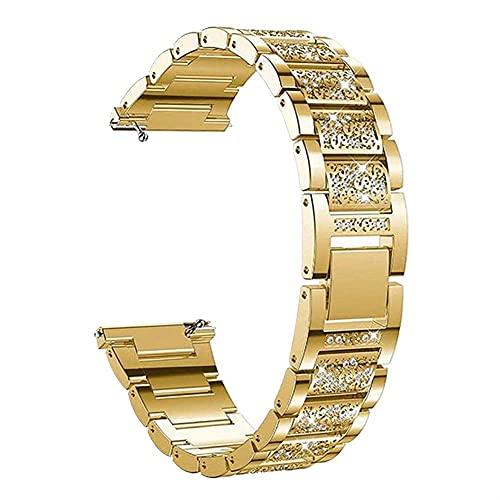Pulsera De Las Mujeres Para Samsun Galaxy Watch 3 Band 41/45/42 / 46mm Active 2 1 Metal Diamond Watch Strap 1033 (Band Color : Gold, Band Width : For Galaxy Watch3 41)