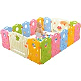 Ashtonbee - Baby Playpen, Play Yard with Multicolor Indoor Safety Gates, 16-Panel Portable Play Pens for Babies and Toddlers