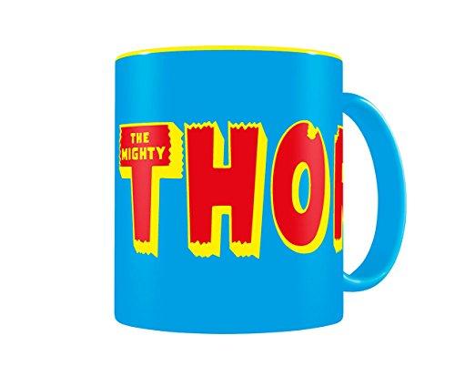 SD toys Marvel Comics Taza con diseño Thor, Cerámica, Azul y Amarilla, 8 cm