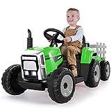 METAKOO Tracteur Électrique 12V 7Ah 2+1 Vitesse, Tracteur Jouet avec Remorque 7 Phares à LED, Bouton d'avertisseur/Lecteur MP3/ Bluetooth/Port USB/Télécommande pour Enfants de 3 à 8 Ans (Vert)