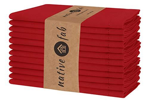 Native Fab Baumwolle Stoffservietten 12er-Set 46x46 cm für Veranstaltungen Hochzeit Restaurant regelmäßige Heimnutzung, Weich Bequem Maschinenwaschbar Wiederverwendbare Servietten Rot