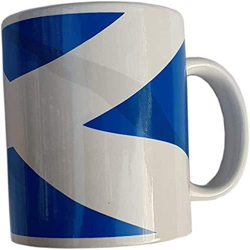 Tasse mit schottischer Flagge von St. Andrew's – für Kaffee, Tee, heiße Schokolade, Kakao, Milch, Cappuccino, Caffe Latte, Weiß und Marineblau, Souvenir aus Schottland, für die Küche zu Hause