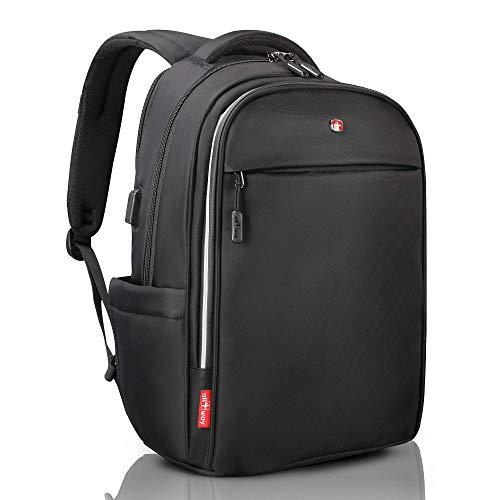 all4way Laptop Rucksack RFID Schutz schwarz - Diebstahlschutz USB Port Swiss Design - Business College Reise Schulrucksack - wasserdichter Rucksack für Herren Damen - 15