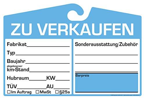 25x KFZ-Verkaufsschild zur Befestigung am Innenspiegel (blau, analoge Anzeige)