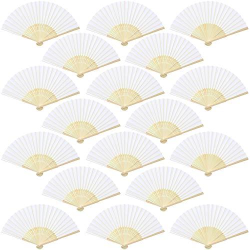 Aneco 18 abanicos de Mano de Tela de bambú abanicos Plegables para...