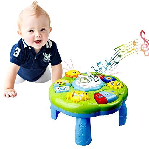 rosemaryrose Juguetes Bebe,Mesa De Actividades De Aprendizaje Juguetes para Bebés Juguetes De Escritorio Musicales Educativos con Piano Pat Drum Light Up para Bebés