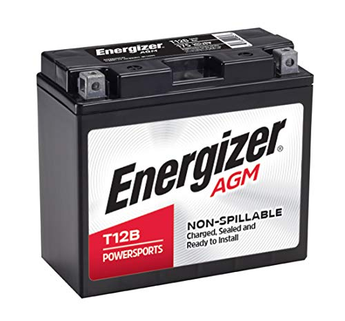 Energizer T12B AGM Motorcycle 12V Battery, 175 Cold Cranking Amps and 10 Ahr, Replaces: YTZ12B, YT12B-BS, and others