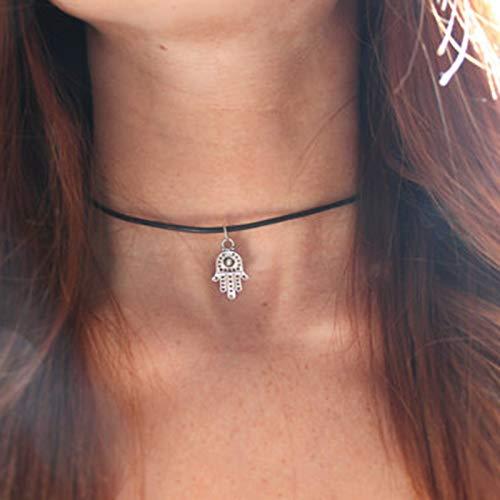 TseenYi Gargantilla de moda de cuero negro gargantilla plata banda de Fátima mal de ojo colgante collar corto boho collares joyería para mujeres y niñas