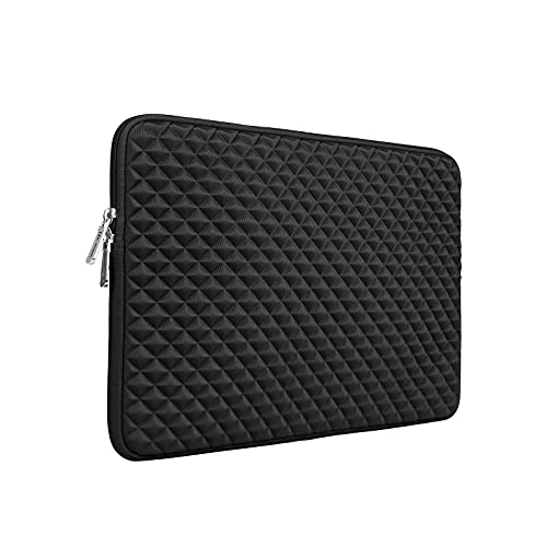 RAINYEAR 15.6 Inch Laptop Sleeve Diamond Foam Shock Resistant Neoprene Padded Case Fluffy Lining Zipper Cover Carrying Bag Compatible with 15.6' Notebook Computer Chromebook(Black)