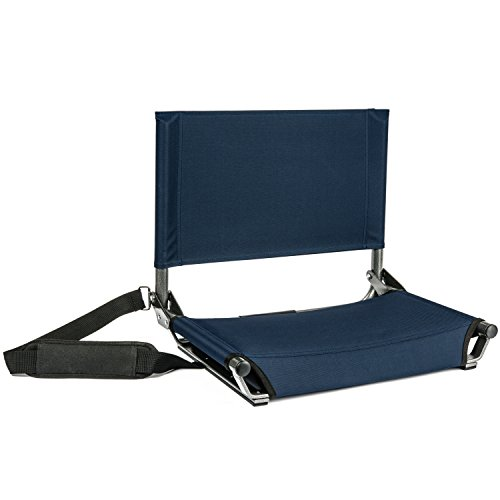 "Cascade Mountain Tech Portable Folding Steel Stadium Seats for Bleachers, Navy, Regular - 17"", Model: SS-AL-NB-2"