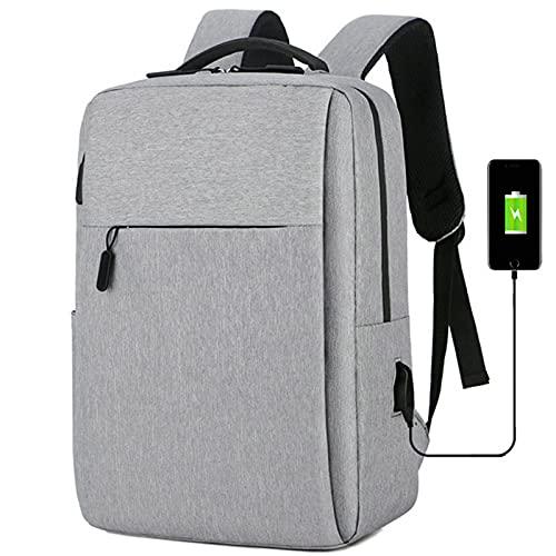 Sac à dos étanche pour étudiant garçon/fille avec port de charge USB, gris,