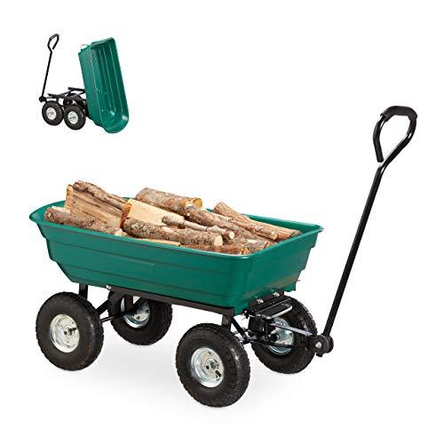 Relaxdays, grün Kippwagen, Gartenwagen mit Kippfunktion, zum Outdoor Transport, Lenkachse, bis 200kg, Luftreifen 3.50-4
