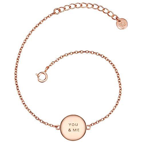 Glanzstücke München Damen-Armband mit Anhänger You & Me Sterling Silber rosévergoldet 17 + 3 cm - Armkettchen rose-gold Silberarmkette mit Spruch Freundschaftsarmbänder Arm-Schmuck