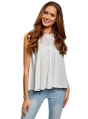 oodji Ultra Mujer Blusa de Viscosa con Encajes, Blanco, ES 38 / S