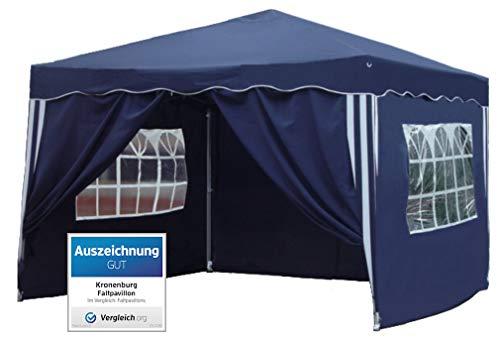 Kronenburg Faltpavillon WASSERDICHT Dachmaß 3 x 3 m UV Schutz 50+ Pavillon in Blau mit 4 Seitenteilen