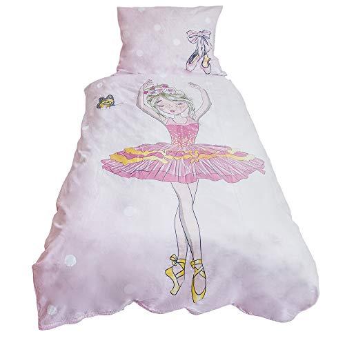 Copripiumino per bambini, motivo: ballerina, 140 x 200 cm e federa 70 x 90 cm, 100% cotone