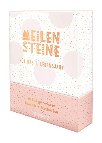 GRAFIK WERKSTATT Meilenstein-Box, Meilenstein-Karten (für das 1. Lebensjahr), Geschenk, rosa für Mädchen