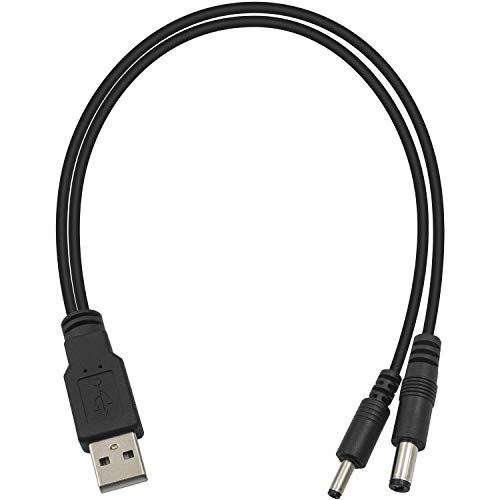 Duttek Cable USB a CC, cable USB DC 5 V, USB 2.0 macho a macho de 3.5 x 1.35 mm + conector macho de 5.5 x 2.1 mm, conector de cable de alimentación para cámara, enrutadores, altavoces
