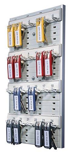 Durable Key Board 24 - Panel para llaves con cuatro filas y 6 llaveros clip, color gris, Multicolor