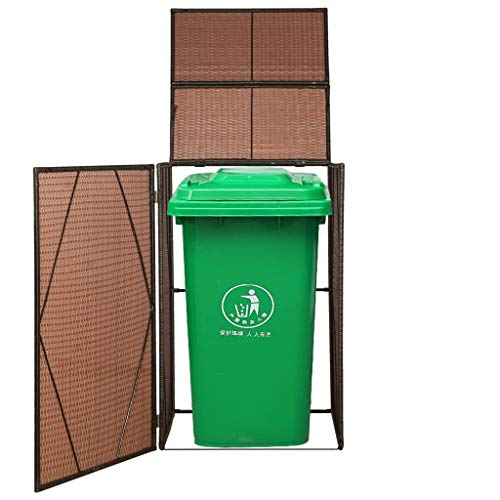 Festnight Poly Rattan Single Wheelie Bin Shed| Outdoor Garden Waste Bin Shed| Wheelie Bin Store Dustbin Cover with Front Door & Lifting Lid, 76x78x120 cm, Brown